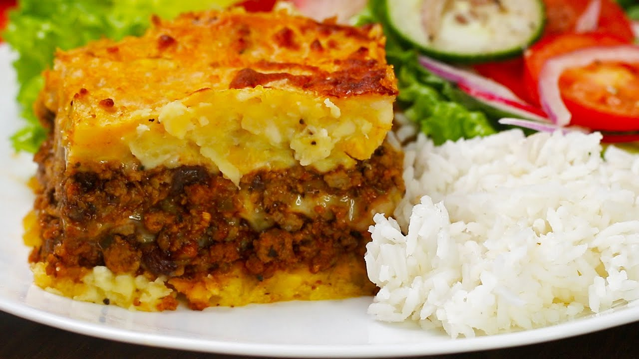Dominican Pastelon Recipe With Mashed Plantains Mangu Youtube