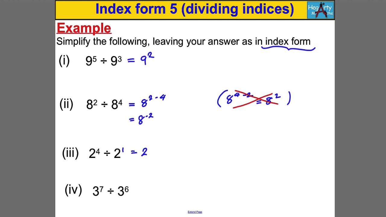 index form 5 dividing indices youtube