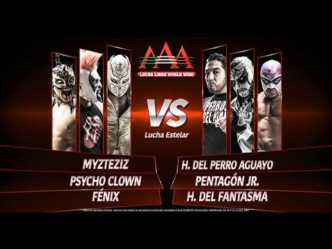 MYZTEZYZ, FÉNIX Y PSYCHO CLOWN VS PERRO AGUAYO JR. FANTASMA JR Y PENTAGÓN JR.-enero 2015
