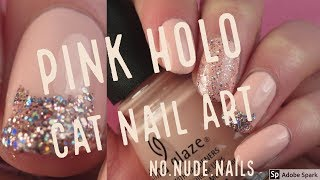 Pink Holo Cat Nail Art! | no.nude.nails