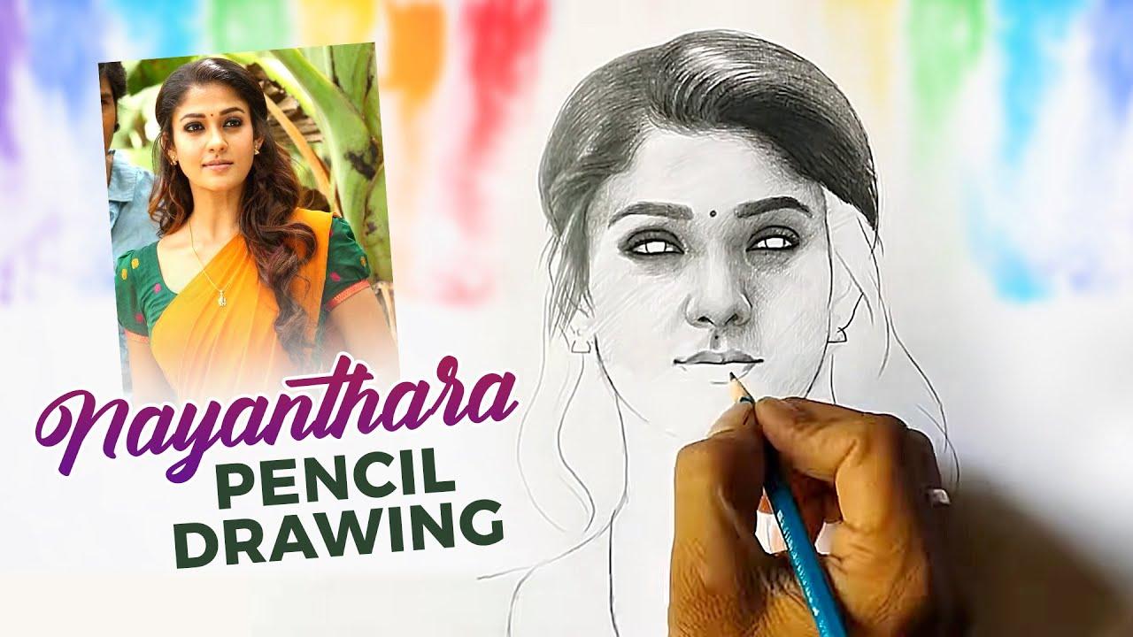 Nayanthara pencil drawing video | Apsara and camlin pencil ...