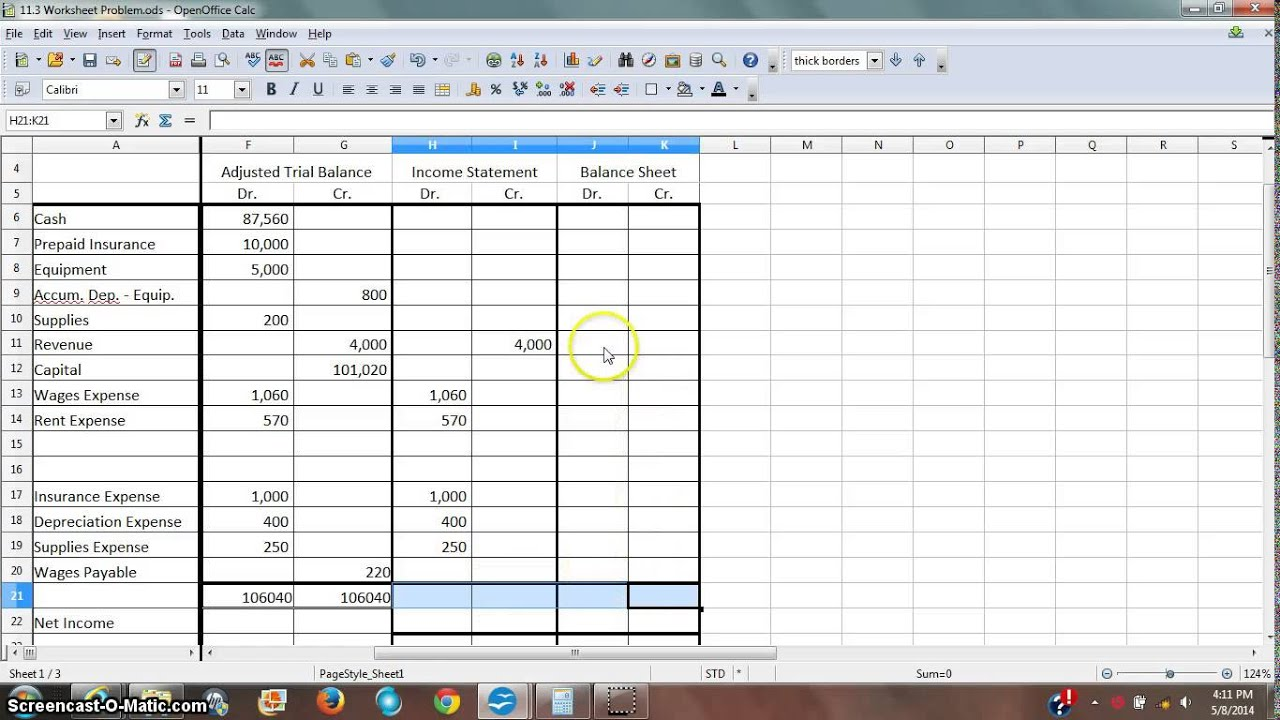 Worksheet 3 - Income Statement and Balance Sheet Columns - YouTube