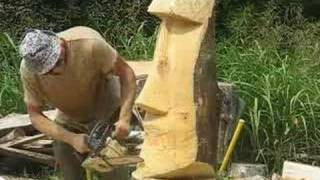 Chainsaw Carving Moai #2, Tiki Head, Arborist, Tree Climber