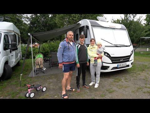 Wohnmobil Dethleffs Pulse 2021 Jungfernfahrt Falko Phil Michaela Enya aus Barnim an den Bodensee.