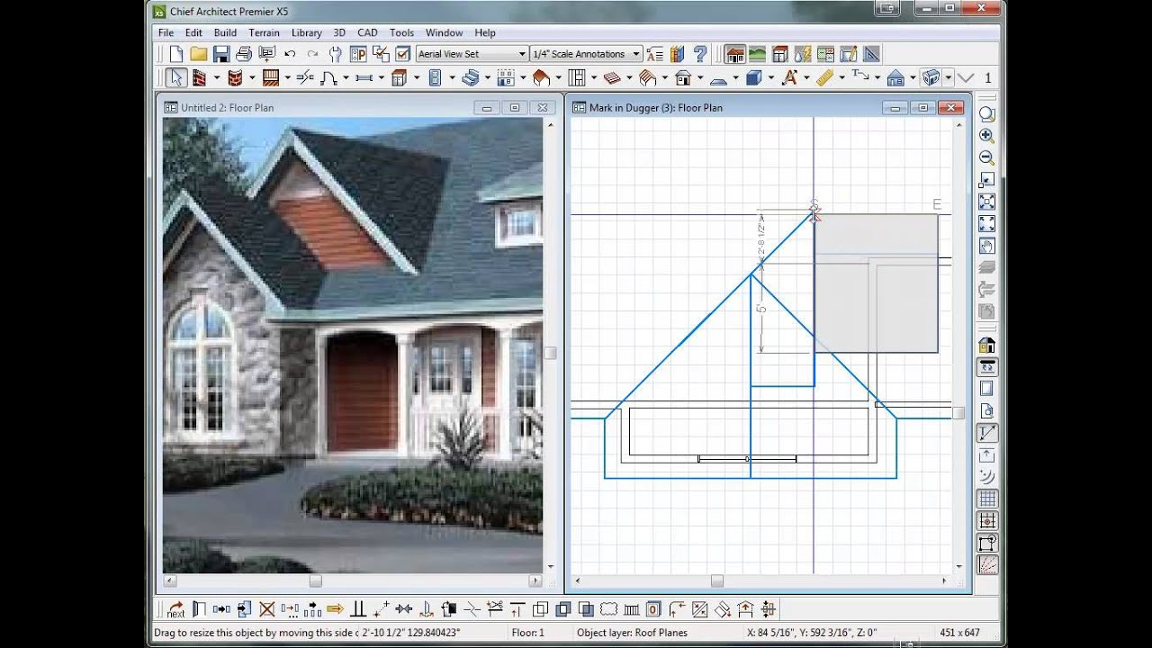 dual gable roof lines using chief architect vx5 - Roof Line Designs