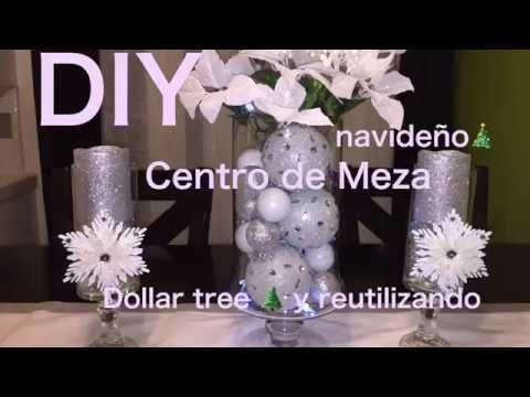 DIY decoración navideña 🎄 Centro de mesa Dollar Tree 🌲 Y reutilizando