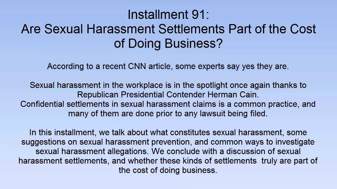 Are Sexual Harassment Settlements Part of the Cost of Doing Business?
