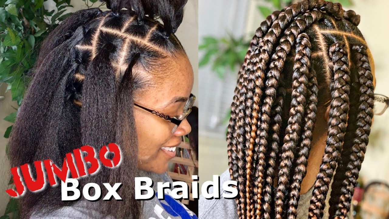 ***HIGHLY REQUESTED*** JUMBO BOX BRAIDS TUTORIAL  RUBBERBAND METHOD