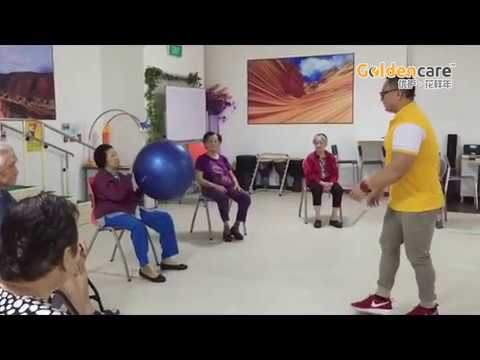 Group exercise on ball games for Ageing Seniors Elderly at goldencare