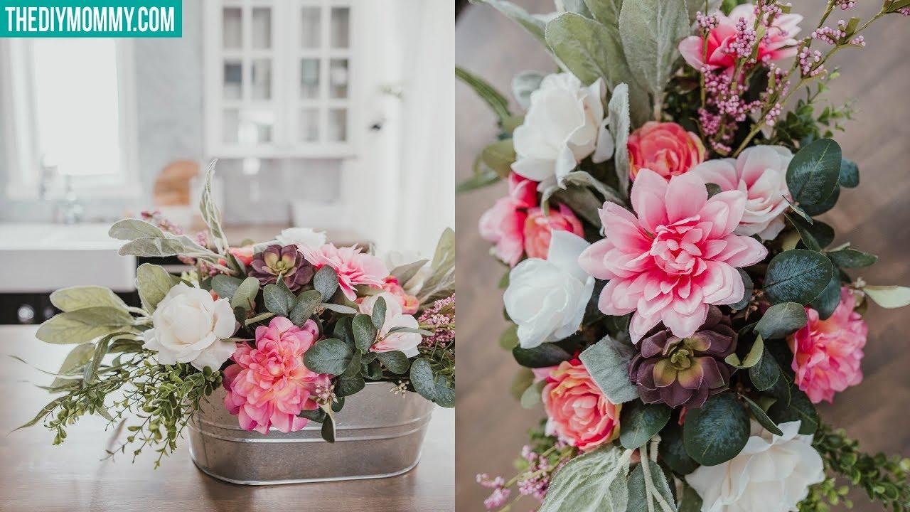 Diy Faux Flower Arrangement Cheap Easy Youtube