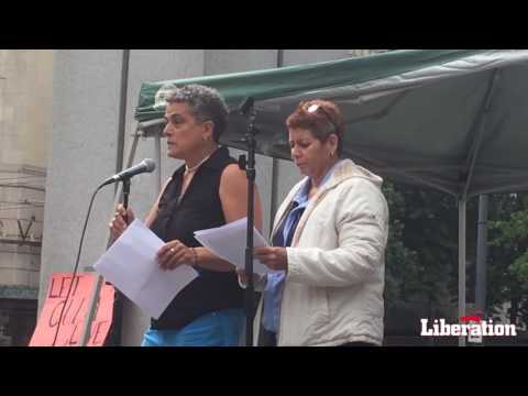 Cuban lesbian activist Isel Calzadilla Acosta speaks at Seattle Westlake Park