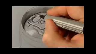 How to draw a 3D Red Bull can