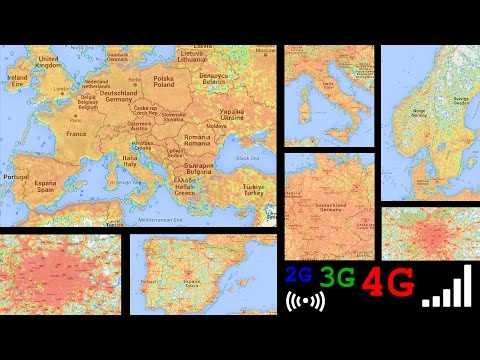 Europe LTE 4G 3G 2G signal coverage - Germany England Italy ...