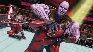 GIANT THANOS UNMASKS DEADPOOL'S SON! | WWE 2K20 Universe Mods