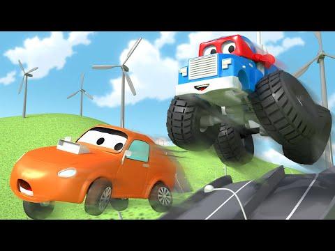 O caminhão monstro  - Carl o Super Caminhão na Cidade do Carro  Desenho animado para crianças