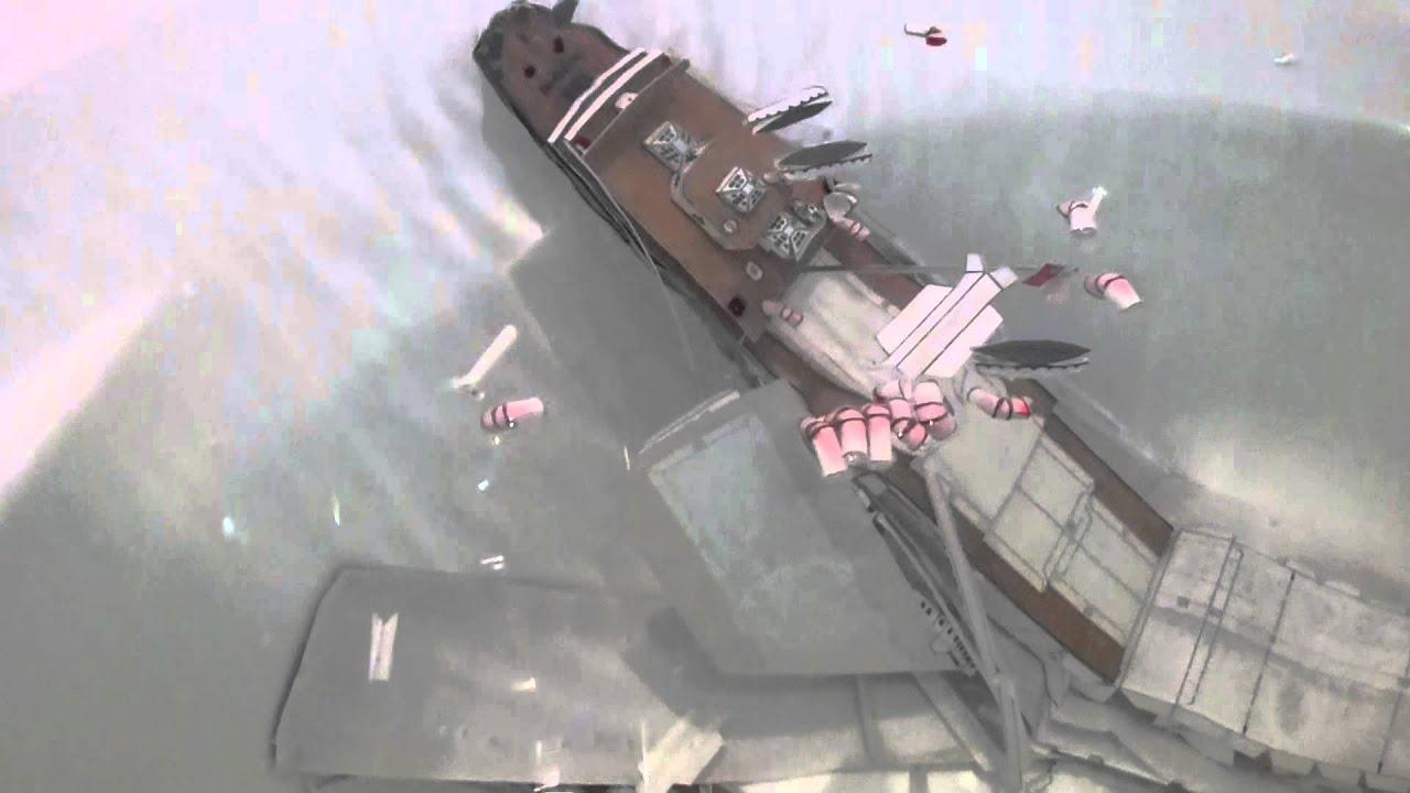 Papercraft Paper ship model sinking part 2