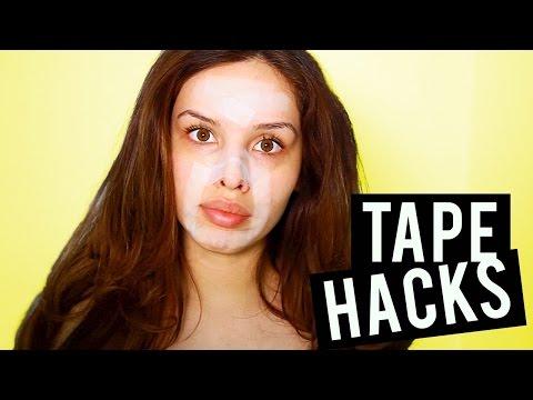 SCOTCH TAPE MAKEUP HACKS!!!!