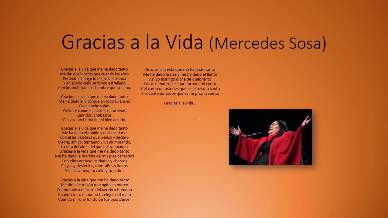 Gracias a la Vida Mercedes Sosa, letra - YouTube