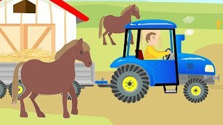 Traktor Bajka - Tractor & Hay Delivery for Horses - Children's fairy tale about animals - Cows