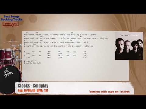 Clocks Coldplay Drums Backing Track With Chords And Lyrics Youtube