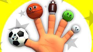 спорт мяч палец семья   песня для детей   Sports Ball Finger Family