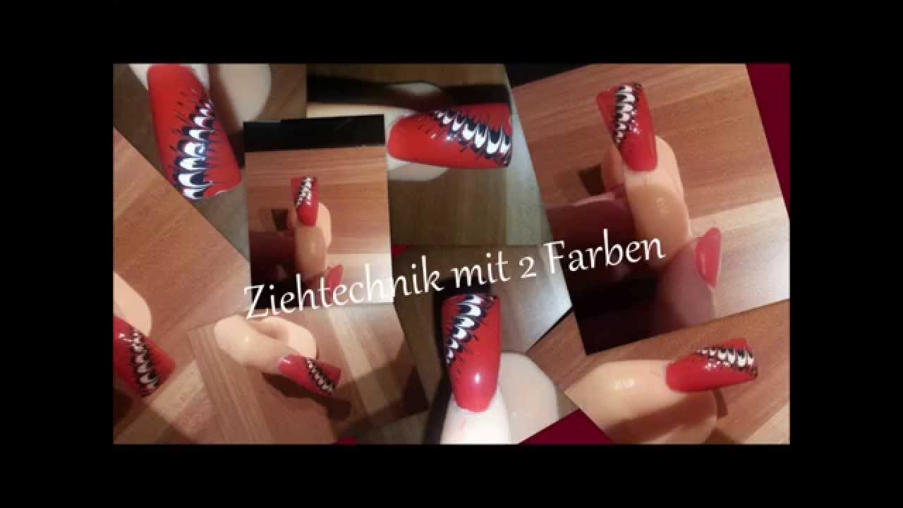 einfaches Nageldesign zum selbst machen (Ziehtechnik) - YouTube