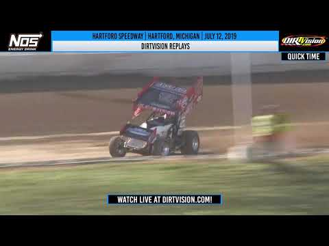 DIRTVision Replays from Hartford Speedway in Hartford, Michigan on July 12th, 2019 - World of Outlaws NOS Energy Drink Sprint Cars. - dirt track racing video image