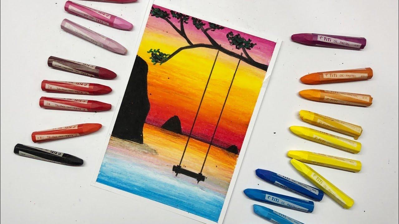 Cara Menggambar Dan Mewarnai Gradasi Pemandangan Langit Fajar Di Pantai Dengan Ayunan