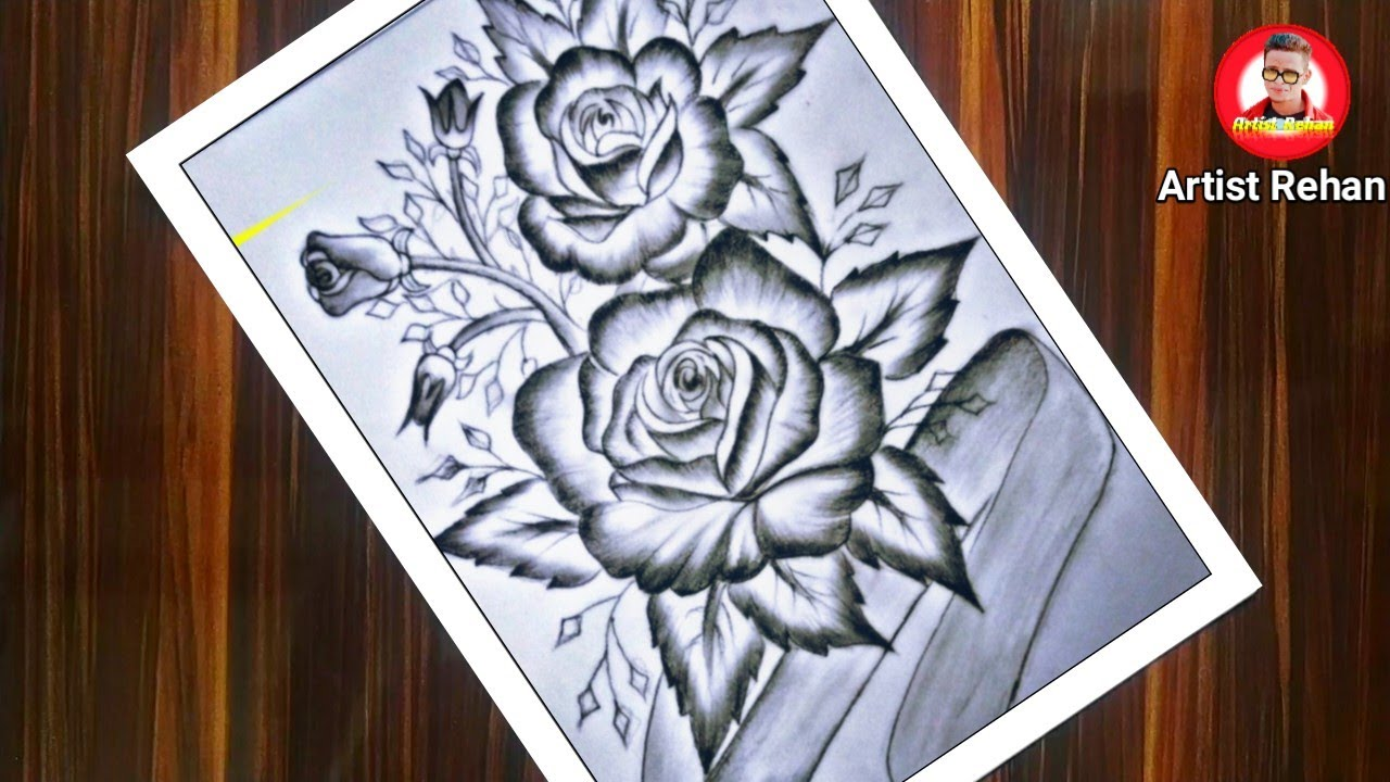 How to draw a Rose || Draw Rose Easy step by step ...