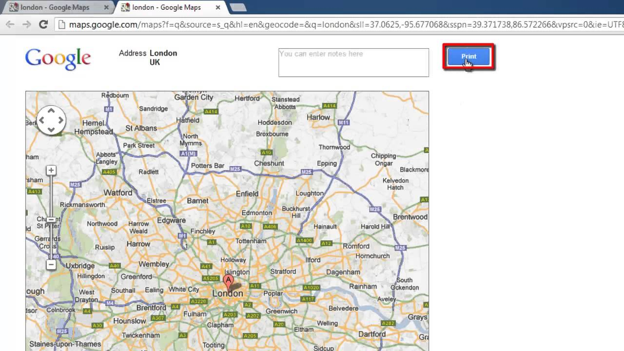 How to Print Google Map Landscape YouTube