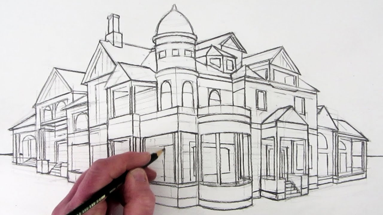 how to draw a house in 2 point perspective narrated youtube
