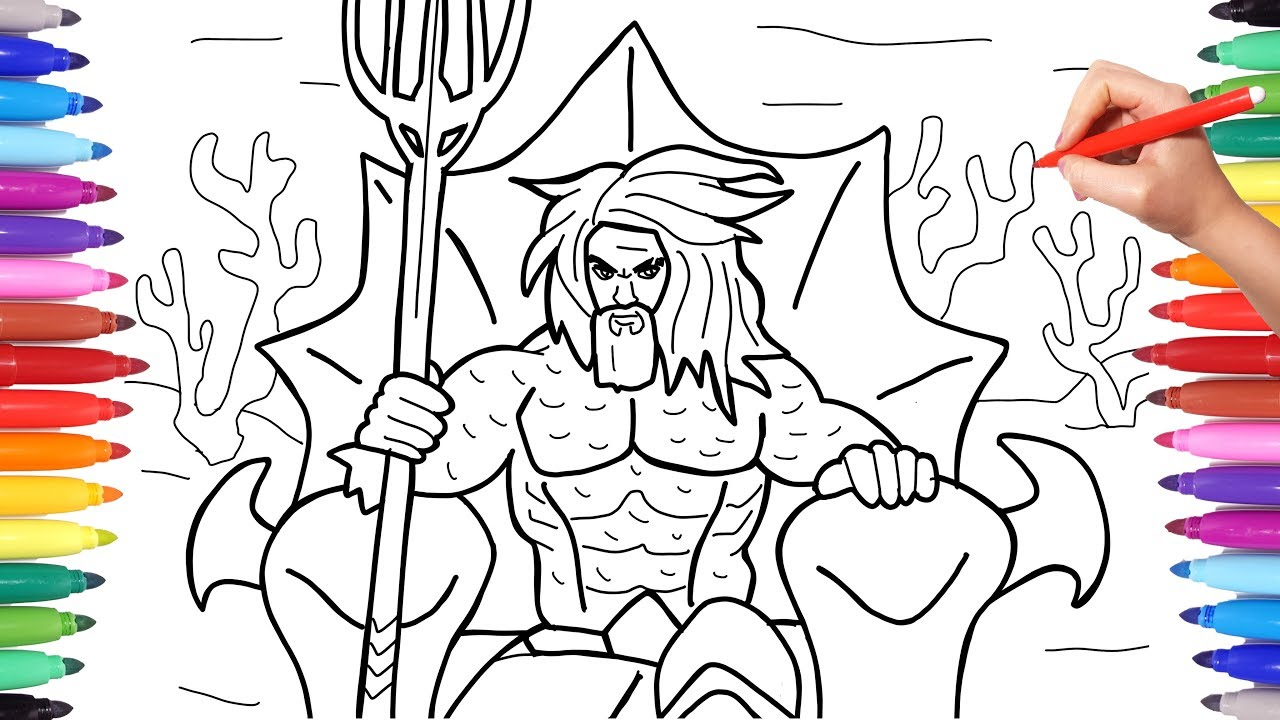 Aquaman Coloring Pages, How to Draw Aquaman on the Throne ...