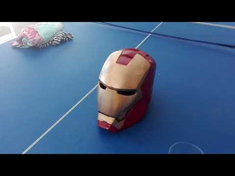 Home made completed iron man helmet (pepakura paper craft and resin)
