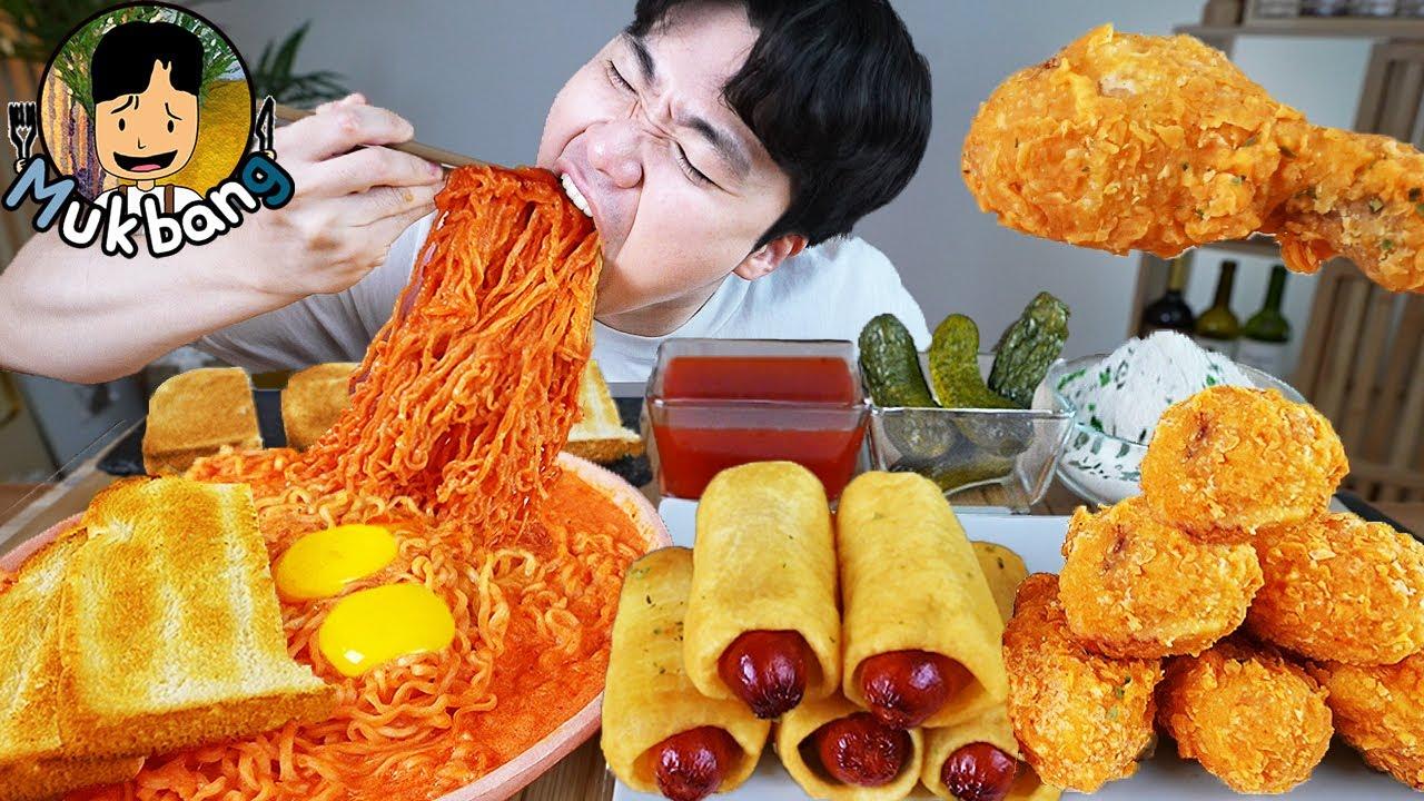 ASMR MUKBANG 불닭볶음면 & 뿌링클 핫도그 & 양념 치킨먹방! FIRE Noodle & FRIED CHICKEN & HOT DOG EATING SOUND!
