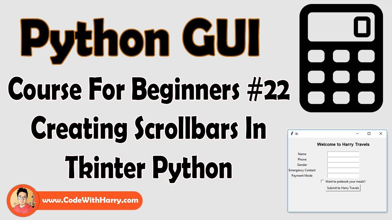 ScrollBar In Tkinter GUI   Python Tkinter GUI Tutorial In
