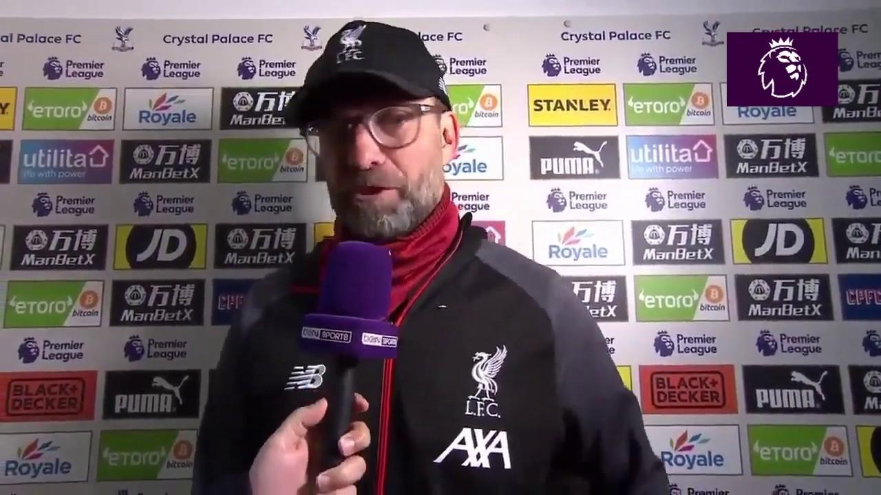 Jurgen Klopp post match interview Crystal Palace 1 - 2 Liverpool - YouTube
