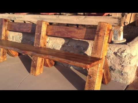 Arizona Ranch Furniture-How we buid it-rustic cantilevered live edge bench.