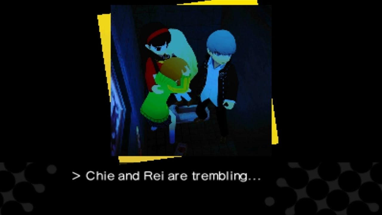[3DS] Persona Q: Shadow of the Labyrinth [Persona 4] - Bathroom Scene  (Choosing Chie's Stall)