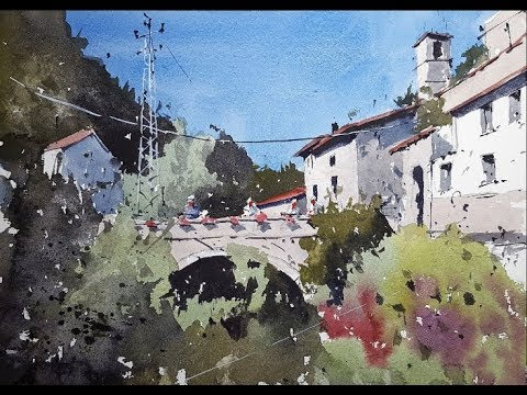 How to paint an Italian Tuscan Village Scene - Watercolour Demonstration by Tim Wilmot #32