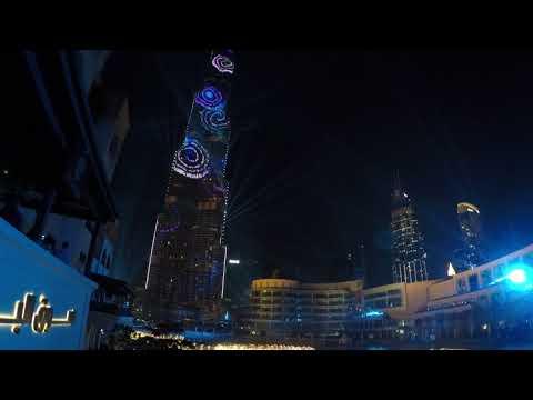 NYE 2018 Dubai at Burj Khalifa Lightshow from Karma Kafe
