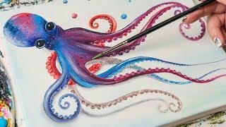 Rainbow Octopus - Acrylic painting / Homemade Illustration (4k)