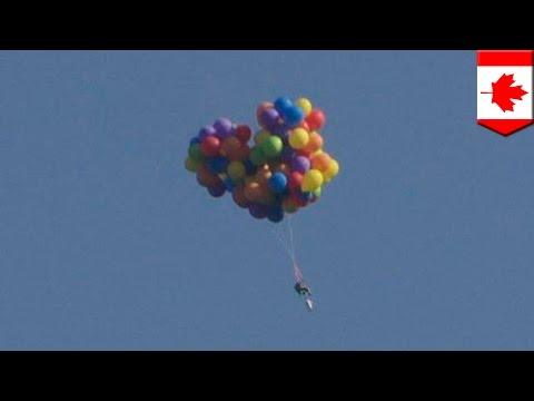 Daniel Boria's lawn chair helium balloon parachute stunt takes marketing to new heights - TomoNews