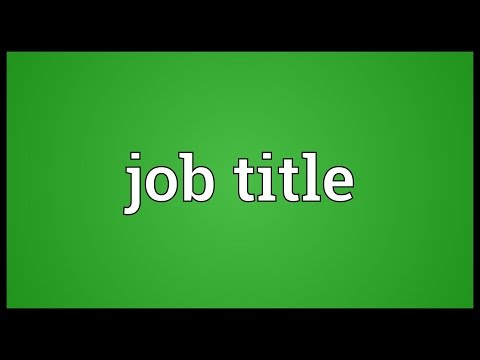 Job title Meaning