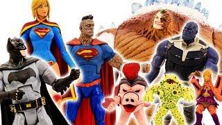 Power Rangers & Marvel Avengers Toys Pretend Play | Superman, Superwoman & Batman vs Thanos Army #1