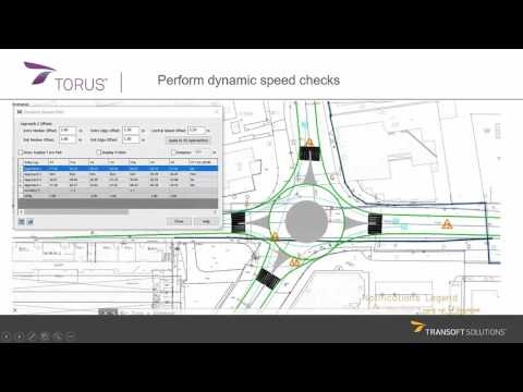 Dynamic speed check on a roundabout design - TORUS