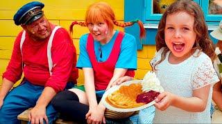 Melody hälsar på Pippi och Emil på Astrid Lindgrens Värld 2018