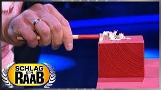 Spiel 1: Bleistifte anspitzen - Schlag den Raab