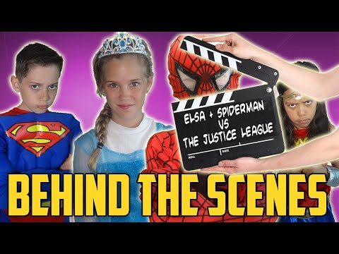 Frozen Elsa, Spiderman and Joker Vs The Justice League: Behind The Scenes