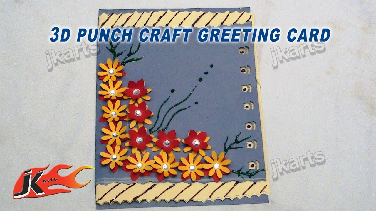 Superior Art And Craft Ideas For Making Greeting Cards Part - 1: DIY Easy Punch Craft Christmas Card | How To Make | School Project For Kids  | JK Arts 120 - YouTube