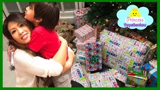 Christmas Morning 2016 Opening Presents Surprise Toy kids Family Fun Games Princess ToysReview part1